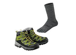 Trekking shoes and socks
