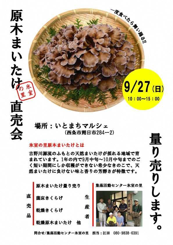 9/27(日)原木まいたけ直売会について